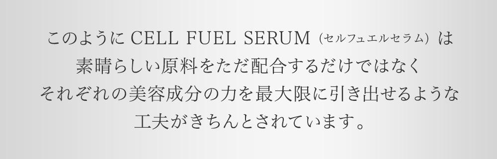 このようにCELL FUEL SERUM(セル フェエル セラム)は素晴らしい原料をただ配合するだけではなくそれぞれの美容成分の力を最大限に引き出せるような工夫がきちんとされています。
